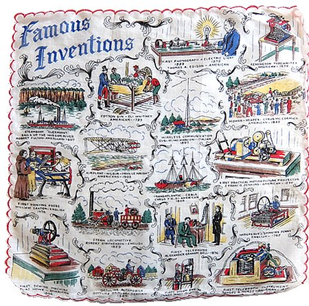 Famous Inventions Vintage Hanky