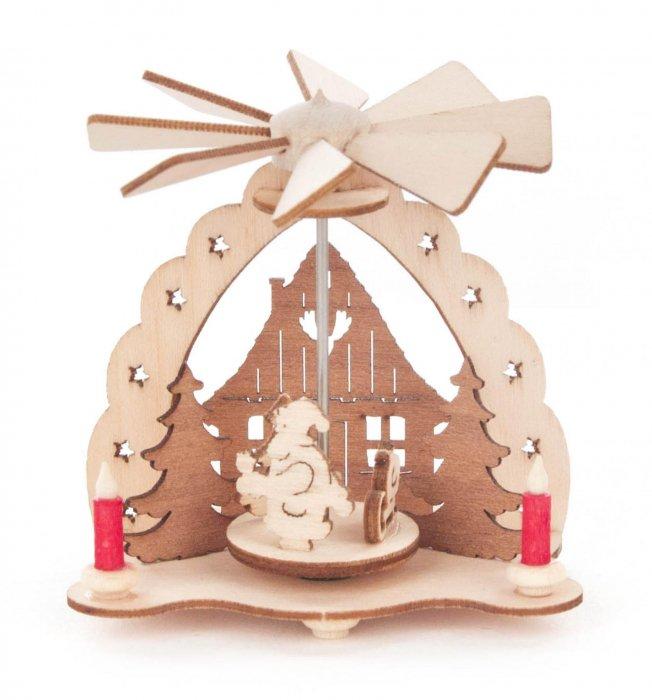 「クリスマスマーケットブース」用 mini ピラミッド「村にサンタと赤いろうそく」 5cmH