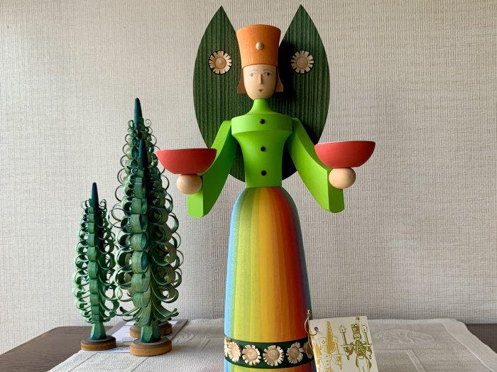 WB キャンドルホルダー 「ライトエンジェル」(レインボー・緑の羽)29cmH