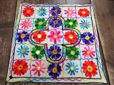 エスニッククッションカバー/アジアンクッションカバー/インド刺繍クッションカバー・カラフルお花刺繍(SC-032)