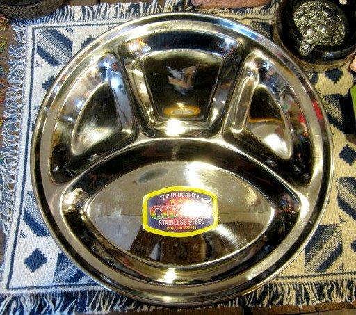 インド食器ダルバート皿/ネパール食器/ネパールダルバートプレート 仕切り付直径32cm(CE-084)