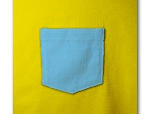 胸ポケット付Tシャツ ライトブルー