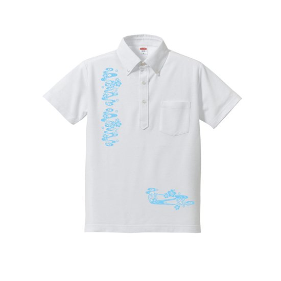 かりゆし風 ポケット付き ボタンダウンポロシャツ