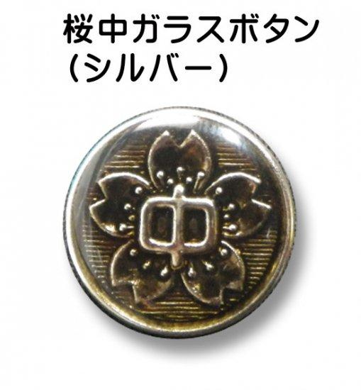 学生服のボタン 中学生用 シルバー 桜中 ガラスボタン胸+ソデ 9個セット