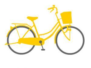 ママチャリ自転車 ボタンダウンポロシャツ