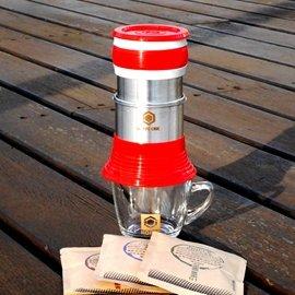 HOFFE コーヒーメーカー とコーヒー粉 セット(レッド)