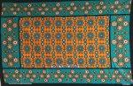 ☆カンガ モンバサ製のエメラルドとオレンジの鮮やかなカンガ