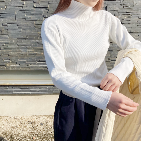 <img class='new_mark_img1' src='https://img.shop-pro.jp/img/new/icons11.gif' style='border:none;display:inline;margin:0px;padding:0px;width:auto;' />「CLOCHE」Rib turtle neck knit