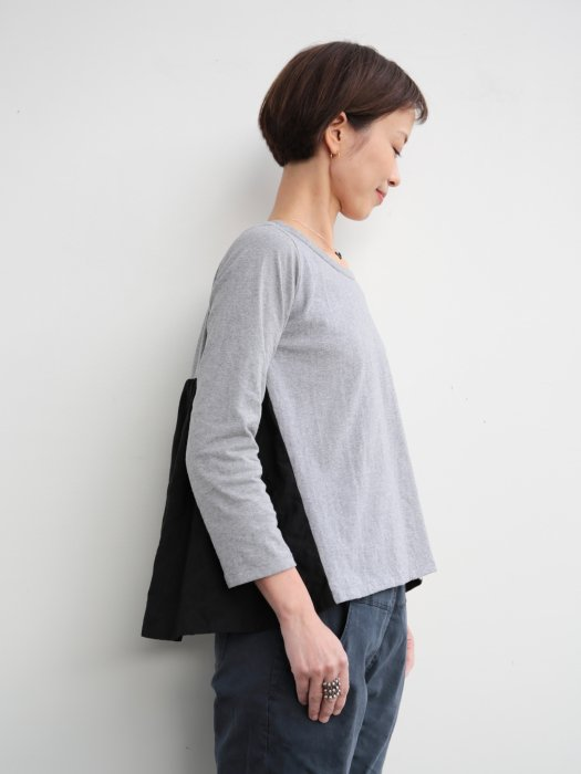 omake/ omiso long tops / gray×black