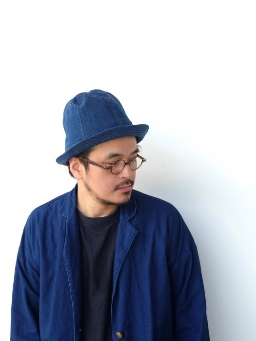 omabow egg hat / denim / size61cm