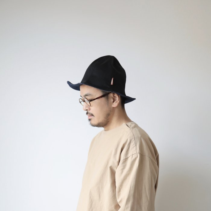 omabow ray hat / black×denim