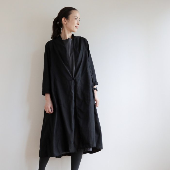 omake / CHIAN long gown Linen cotton  /  black