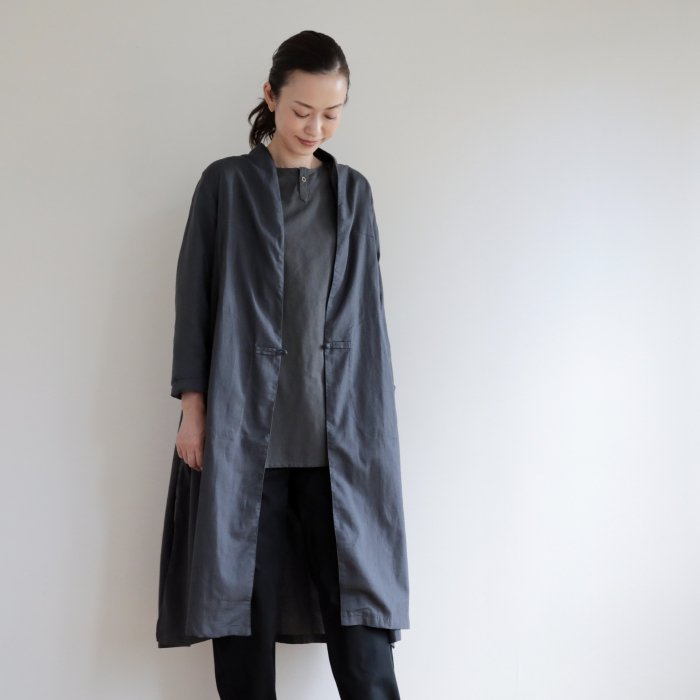 omake / CHIAN long gown Linen cotton  /  gray