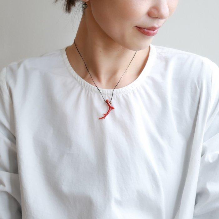 Coral & brass necklace / black string