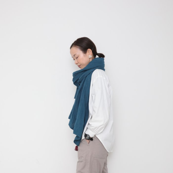 Husahusa big stole / 天然染め 藍染