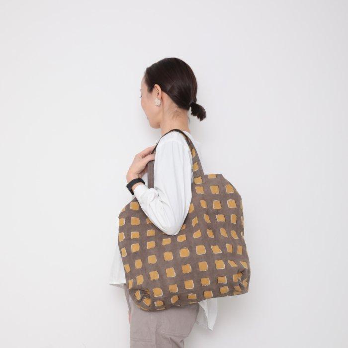 Hand block print kinchaku bag / shikaku