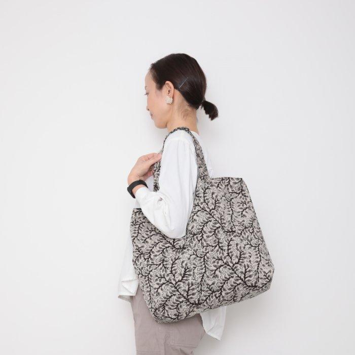 Hand block print kinchaku bag / shirokuro
