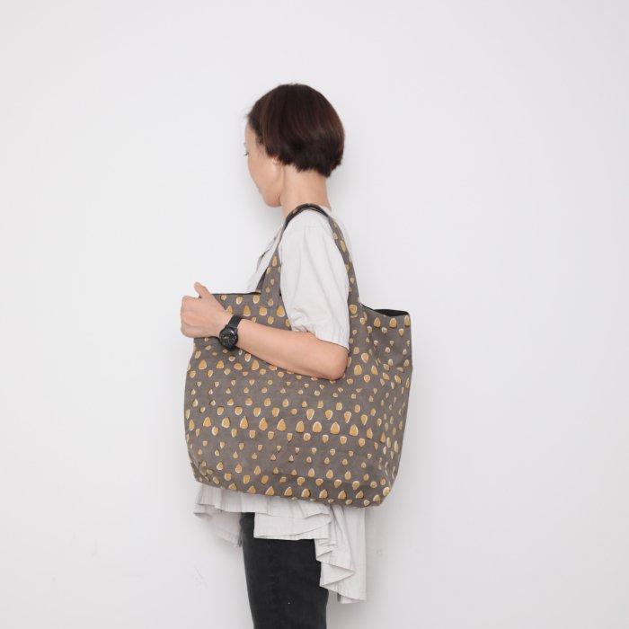 Hand block print kinchaku bag / tsubu