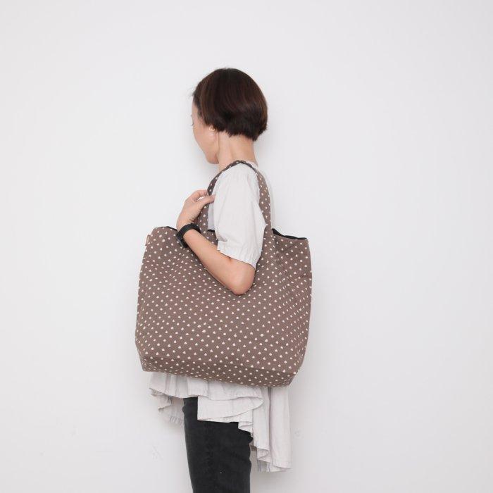 Hand block print kinchaku bag / ame