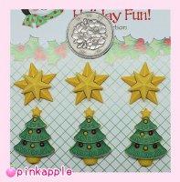 【クリスマス】黄ツリー・黄スターボタンセット