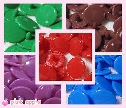 プラスチックスナップボタン【10mmビビッド系】5色ミックス