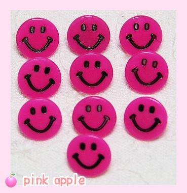 【現品限り】プラスチックスナップボタン【10mmニコちゃん】ホットピンク