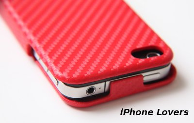 ◆Carbon fiber flip hard case iPhone 4ケース◆RED◆