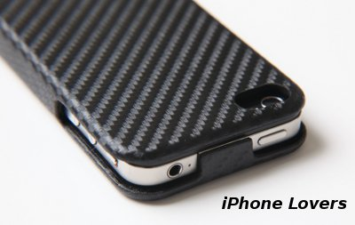 ◆Carbon fiber flip hard case iPhone 4ケース◆BLACK◆