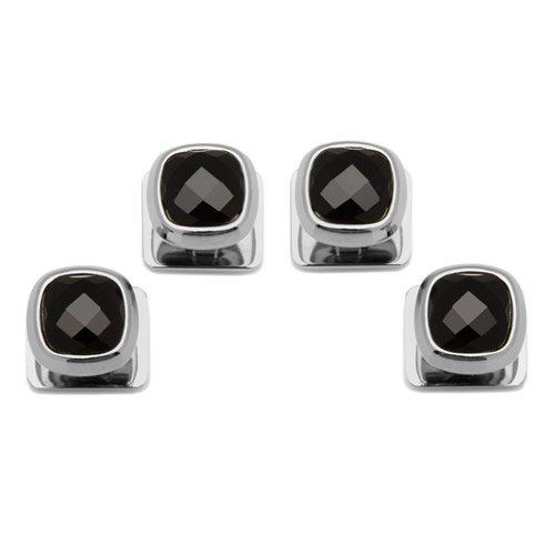 Ox & Bull Trading Co ファセット オニキス クッション スタッドボタン