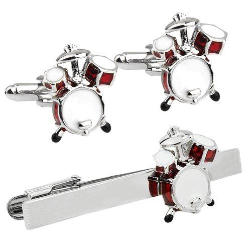 レッド ドラム カフス&ネクタイピンセット