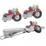 SWANK レッド アメリカンバイク カフス&ネクタイピンセット