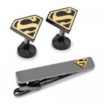 Superman スーパーマン ブラック&ゴールド カフス ネクタイピン セット