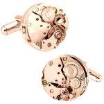 ローズゴールド スチームパンク フレームレス 時計 ムーブメント カフス
