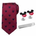 Disney ミッキー レッド ドット ネクタイ カフス ネクタイピン セット