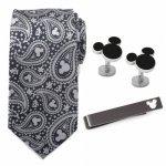 Disney ミッキー グレー ペイズリー ネクタイ カフス ネクタイピン セット