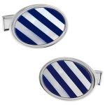 ブルー&ホワイト オーバル ストライプ シェルカフス