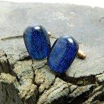 オリジナル手作りガラス カフス  Blue falls【青い滝】