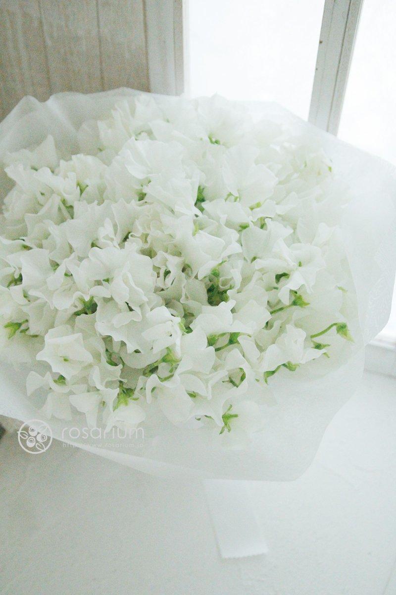 ホワイトデーのプレゼントに白いスイートピーの花束(型番:gf276)