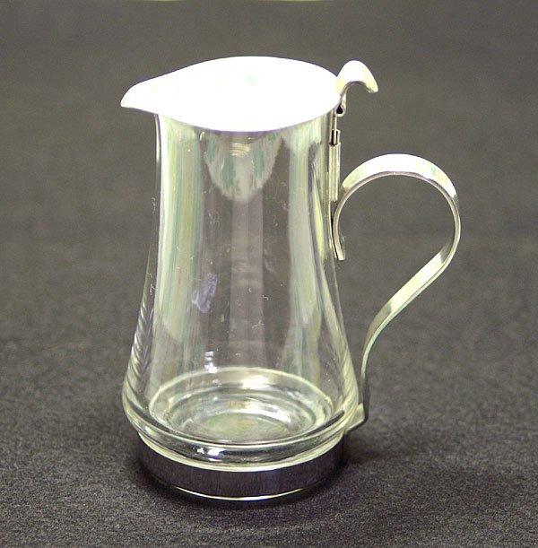 レトロ ステンレス蓋付き ガラス製 ミルクピッチャー