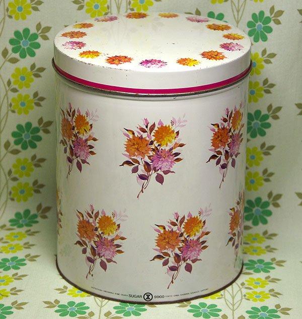 レトロポップ 花柄 砂糖缶(大)