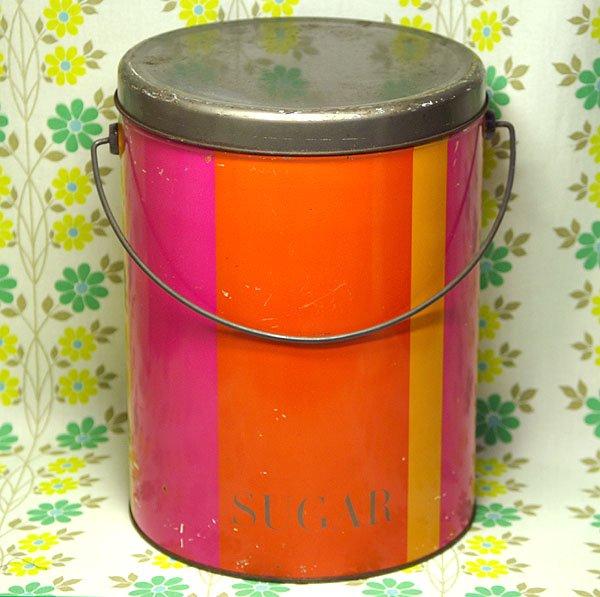 レトロポップ マルチストライプ柄 砂糖缶(大) 取っ手付き