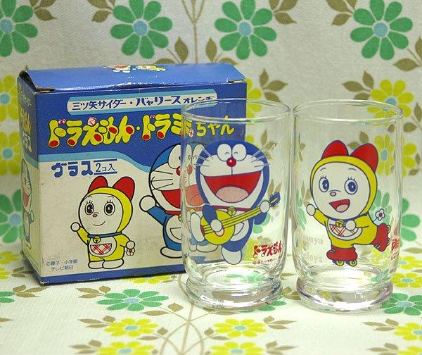 昭和レトロ 三ツ矢サイダー・バヤリース ドラえもん・ドラミちゃんグラス 2個セット