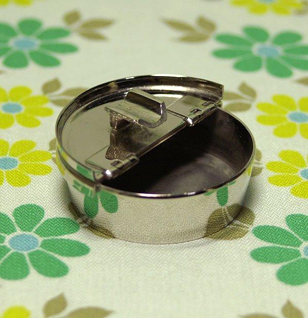 レトロ ステンレス 蓋付き ミニ灰皿