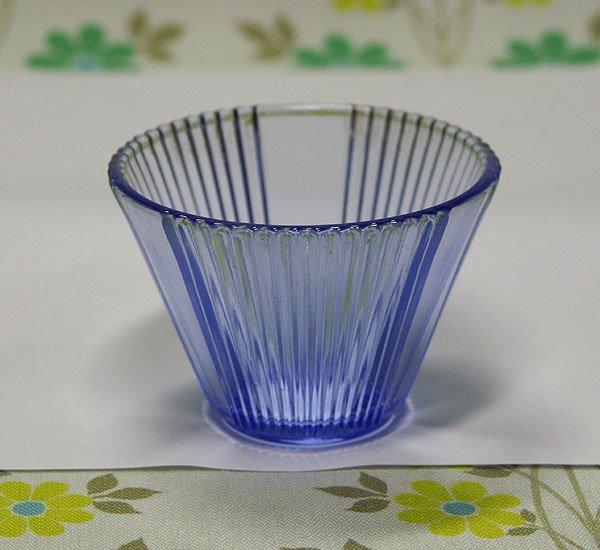 昭和レトロ 青プレスガラス 小鉢