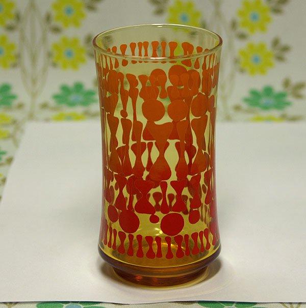 レトロポップ アンバーガラス レトロ柄 グラス
