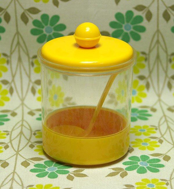 レトロプラスチック スプーン付き フタ付きポット(小) イエロー