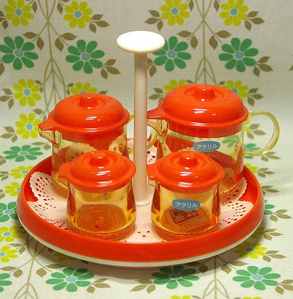 レトロプラスチック カスターセット ハニー卓上セット オレンジ