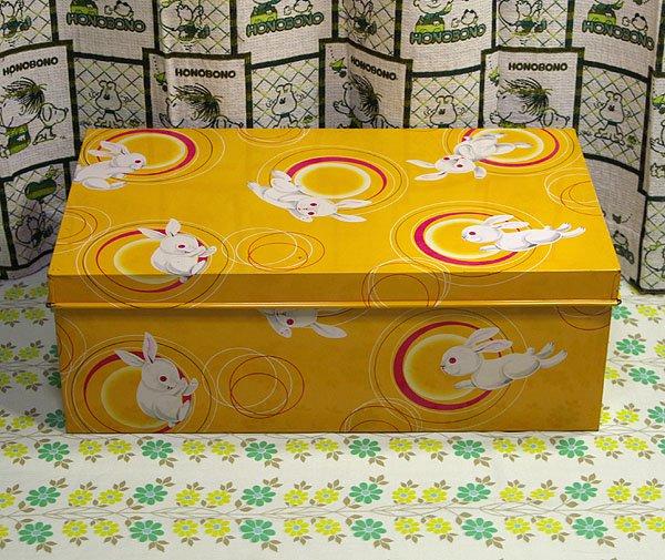 昭和レトロ ウサギ柄 ブリキ収納箱