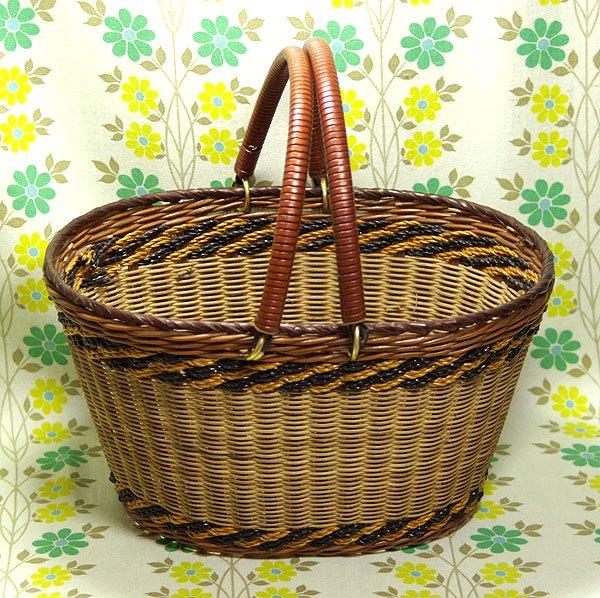 昭和レトロ お買い物カゴ 籐編み