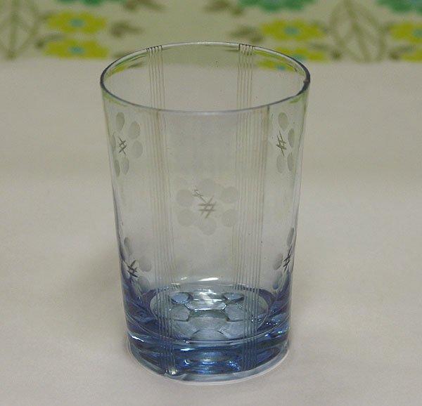 レトロ 青ガラス 花切子 グラス